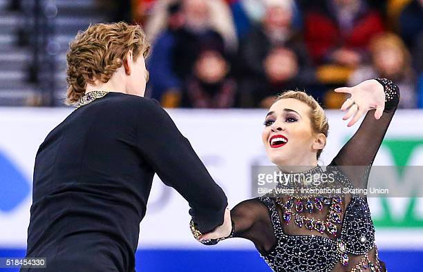 Isabella Tobias and Ilia Tkachenko of Israel compete during Day 4 of the ISU World Figure Skating Championships 2016 at TD Garden on March 31 2016 in...