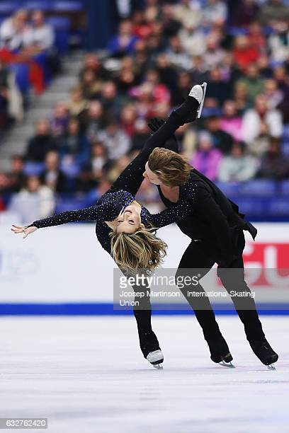 Isabella Tobias and Ilia Tkachenko of Israel compete in the Ice Dance Short Dance during day 2 of the European Figure Skating Championships at...