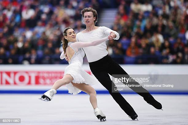 Isabella Tobias and Ilia Tkachenko of Israel compete in the Ice Dance Free Dance during day 4 of the European Figure Skating Championships at...