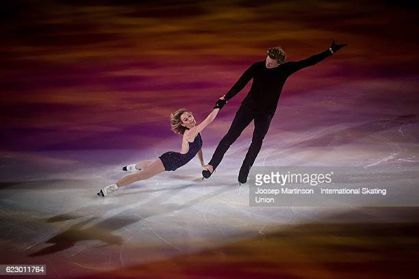 Isabella Tobias and Ilia Tkachenko of Israel perform during Gala Exhibition on day three of the Trophee de France ISU Grand Prix of Figure Skating at...