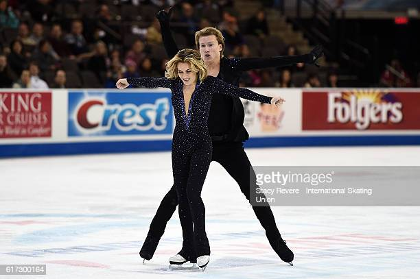 Isabella Tobias and Ilia Tkachenko of Israel perform during the Ice Dance Short Routine on day 2 of the Grand Prix of Skating at the Sears Centre...