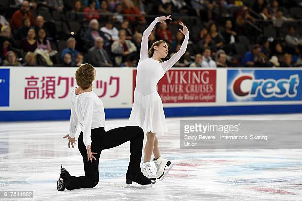 Isabella Tobias and Ilia Tkachenko of Israel perform during the Ice Dance Long Routine on day 3 of the Grand Prix of Figure Skating at the Sears...