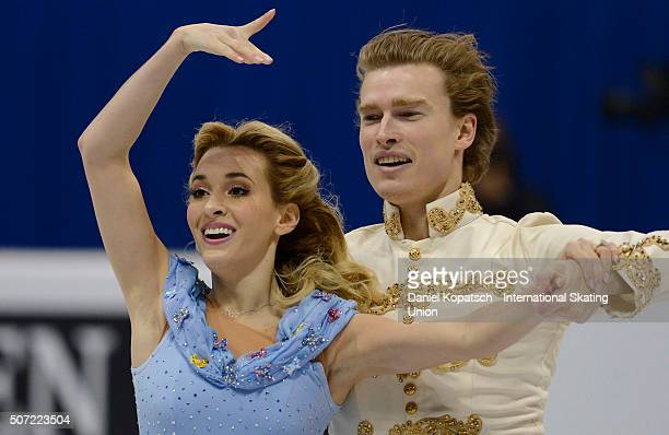Isabella Tobias and Ilia Tkachenko of Israel perform during their Ice Dance Short Dance during the ISU European Figure Skating Championships 2016 on...