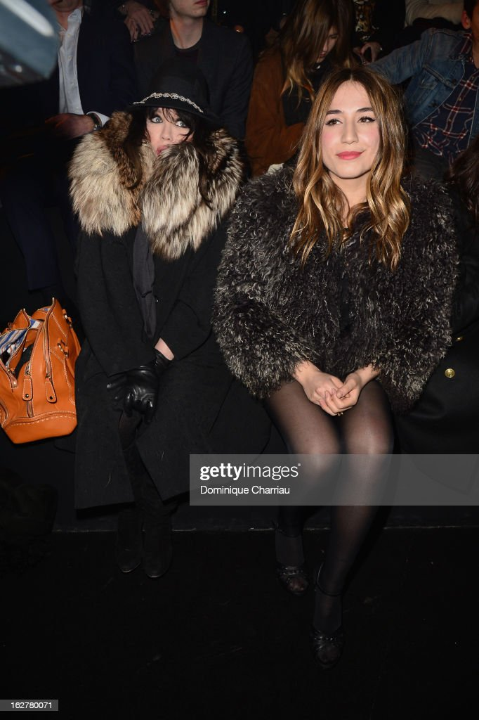 Isabelle Adjani and Izia Higelin attend the Etam Live Show Lingerie at Bourse du Commerce on February 26, 2013 in Paris, France.