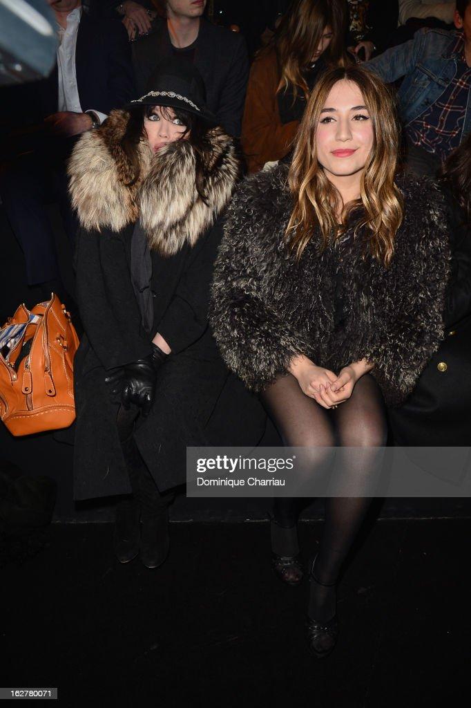 Isabelle Adjani and Izia Higelin attend the Etam Live Show Lingerie at Bourse du Commerce on February 26, 2013 in Paris, France.