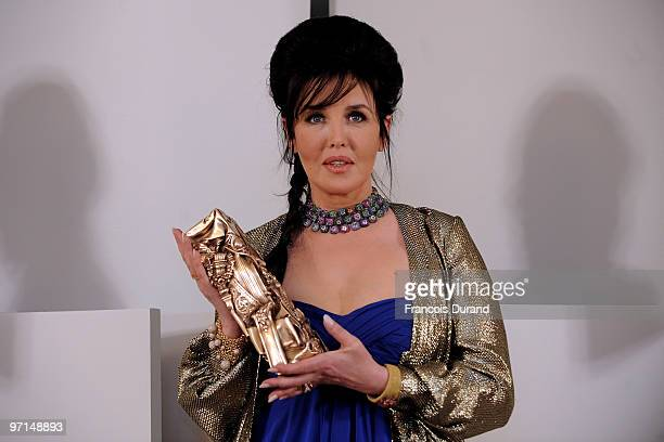 Isabelle Adjani poses in Awards Room after she received Best Actress Cesar Award during 35th Cesar Film Awards at Theatre du Chatelet on February 27...