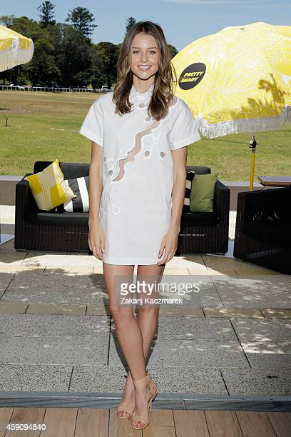 Isabelle Cornish arrives at the Pretty Shady Launch at Centennial Park on November 17 2014 in Sydney Australia Pretty Shady aims to take a different...