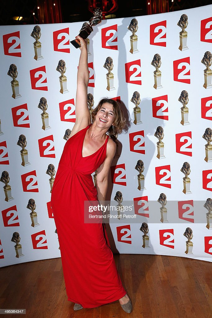Isabelle Gelinas, winner of the Moliere of the actress in a show of private theater for 'Le Pere' poses with her price after the 26th Molieres Awards Ceremony at Folies Bergere on June 2, 2014 in Paris, France.