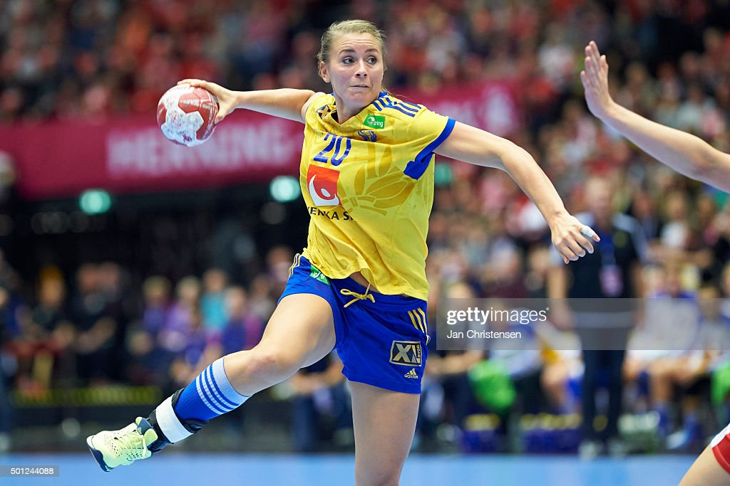 Isabelle Gulldén of Sweden in action during the 22nd IHF Women's Handball World Championship Eight Final match between Denmark and Sweden in Jyske Bank Boxen on December 13, 2015 in Herning, Denmark.