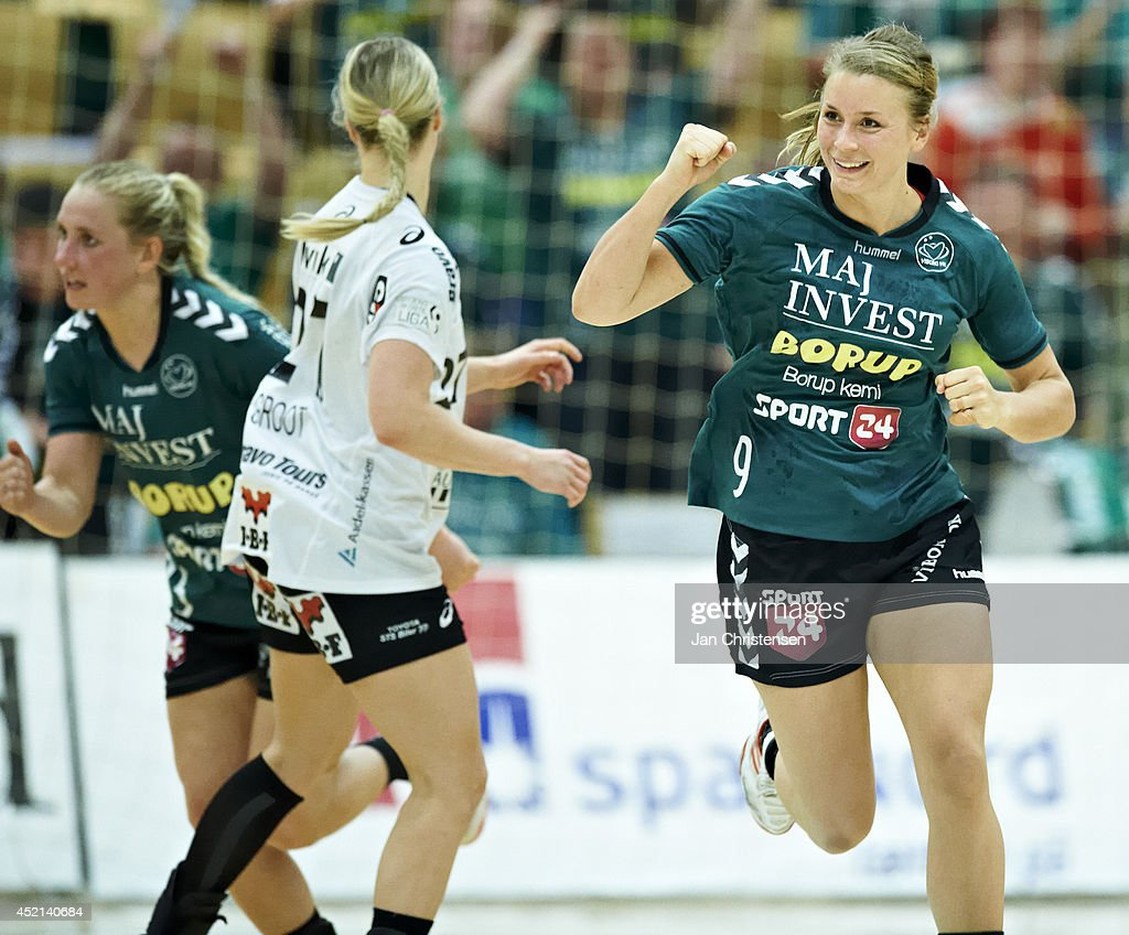 Isabelle Gulldén of Viborg HK celebrate after goal during 2nd national final between Viborg HK and FC Midtjylland in Viborg Stadionhal on May 21, 2014 in Viborg, Denmark.