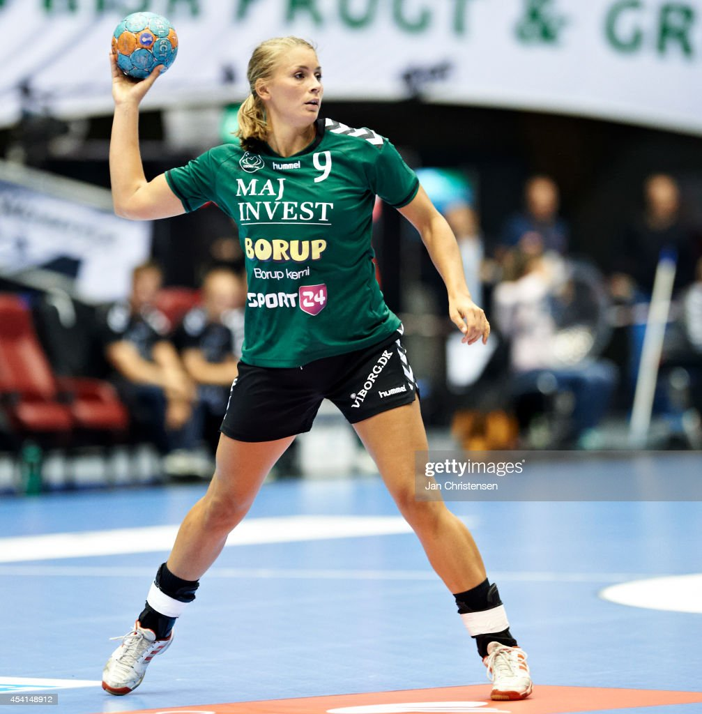 Isabelle Gulldén of Viborg HK throws the ball during the Super Cup Final between Viborg HK and FC Midtjylland in Gigantium on August 22, 2014 in Aalborg, Denmark.