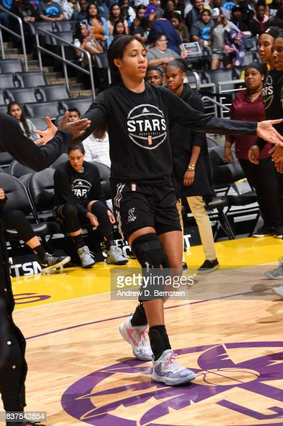 Isabelle Harrison of the San Antonio Stars gets introduced before the game against the Los Angeles Sparks on August 22 2017 at the STAPLES Center in...