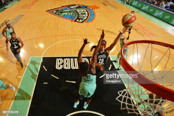 Isabelle Harrison of the San Antonio Stars shoots the ball against the New York Liberty at Madison Square Garden on May 13 2017 in New York City New...