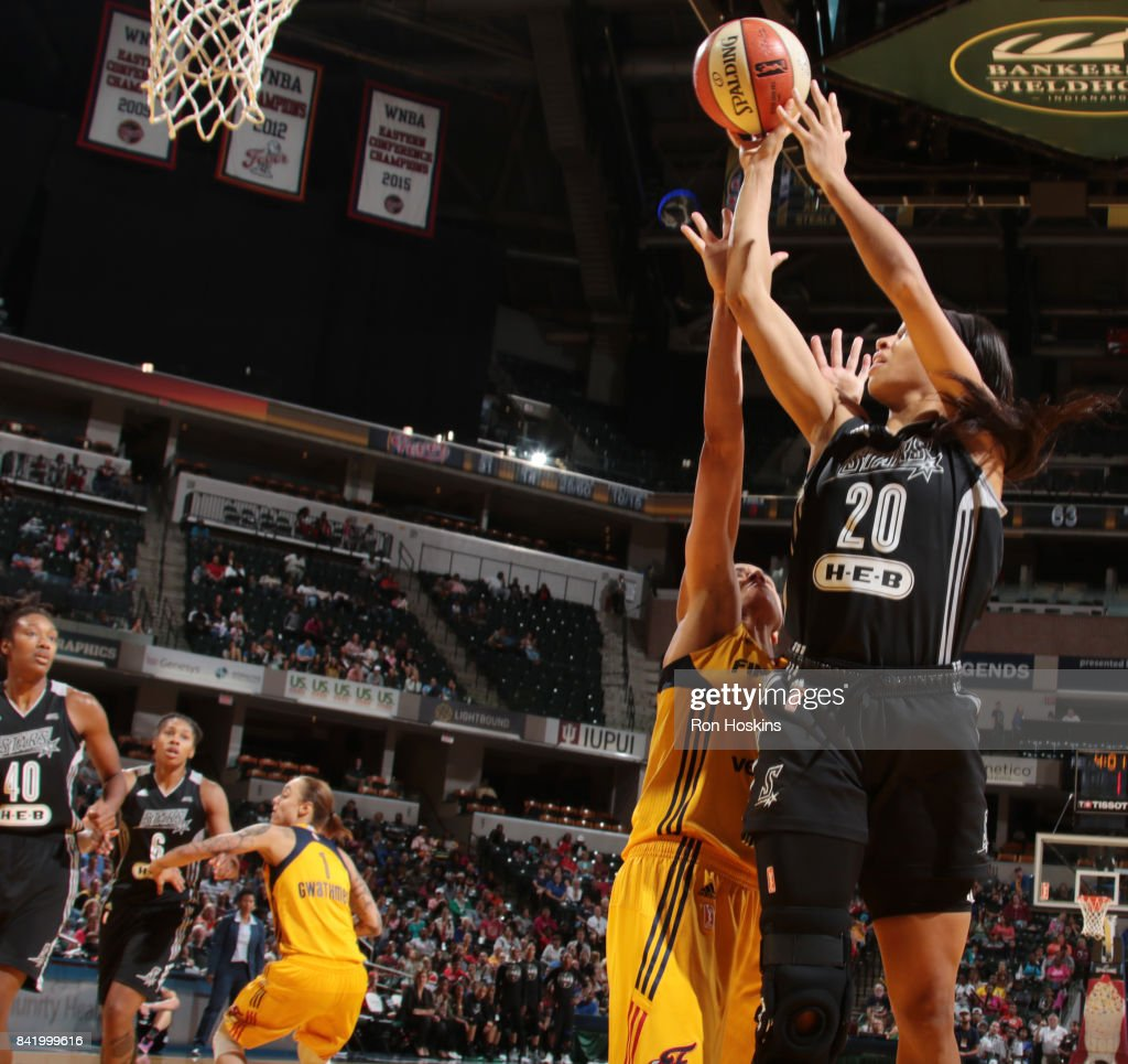 Isabelle Harrison #20 of the San Antonio Stars shoots the ball against the Indiana Fever on September 2, 2017 at Bankers Life Fieldhouse in Indianapolis, Indiana.