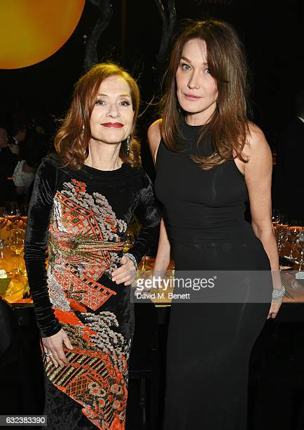 Isabelle Huppert and Carla Bruni attend as Chopard presents The Garden Of Kalahari collection at Theatre du Chatalet on January 21 2017 in Paris...