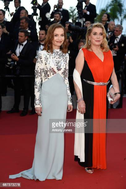 Isabelle Huppert and Catherine Deneuve attend the 70th Anniversary of the 70th annual Cannes Film Festival at Palais des Festivals on May 23 2017 in...