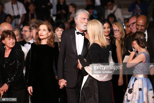 Isabelle Huppert and director Michael Haneke and his wife Susi Haneke attend the 'Happy End' screening during the 70th annual Cannes Film Festival at...