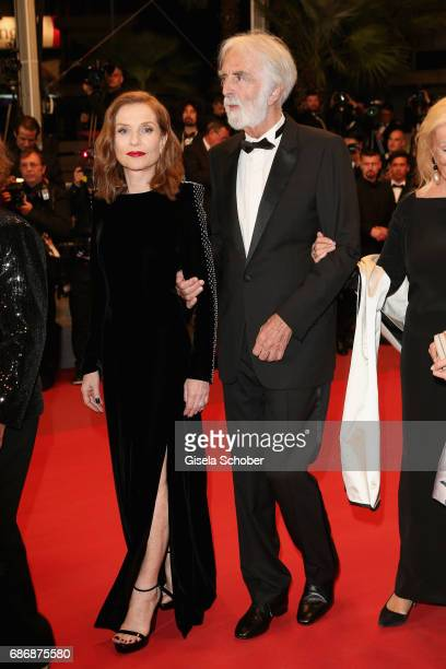 Isabelle Huppert and director Michael Haneke attend the 'Happy End' screening during the 70th annual Cannes Film Festival at Palais des Festivals on...