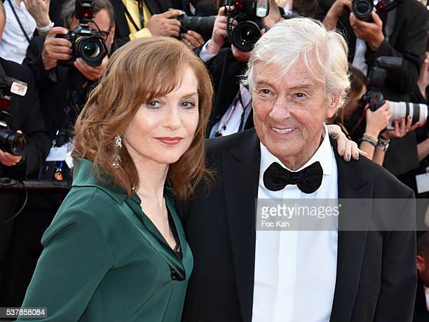 Isabelle Huppert and director Paul Verhoeven attend the 'Elle' Premiere during the 69th annual Cannes Film Festival at the Palais des Festivals on...