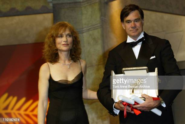Isabelle Huppert and Gus van Sant during 2003 Cannes Film Festival Closing Ceremony Show at Palais des Festivals in Cannes France