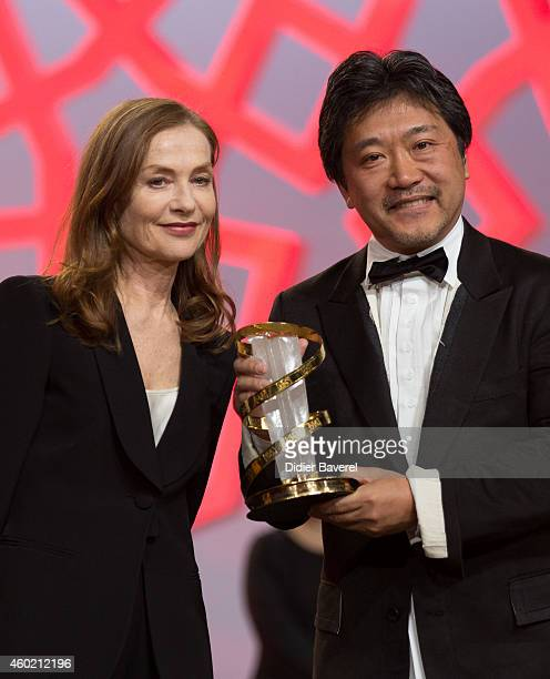 Isabelle Huppert and Hirokazu KoreEda attends the tribute to Japanese cinema at 14th Marrakech International Film Festival on December 9 2014 in...
