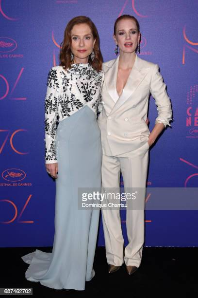Isabelle Huppert and Jessica Chastain attend the 70th Anniversary Dinner during the 70th annual Cannes Film Festival at on May 23 2017 in Cannes...
