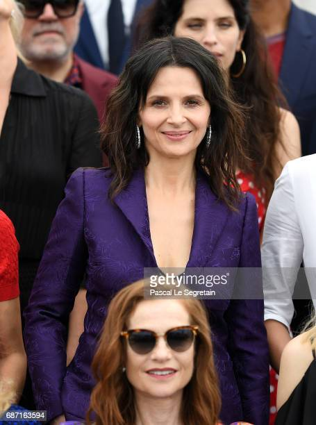 Isabelle Huppert and Juliette Binoche attend the 70th Anniversary Photocall during the 70th annual Cannes Film Festival at Palais des Festivals on...