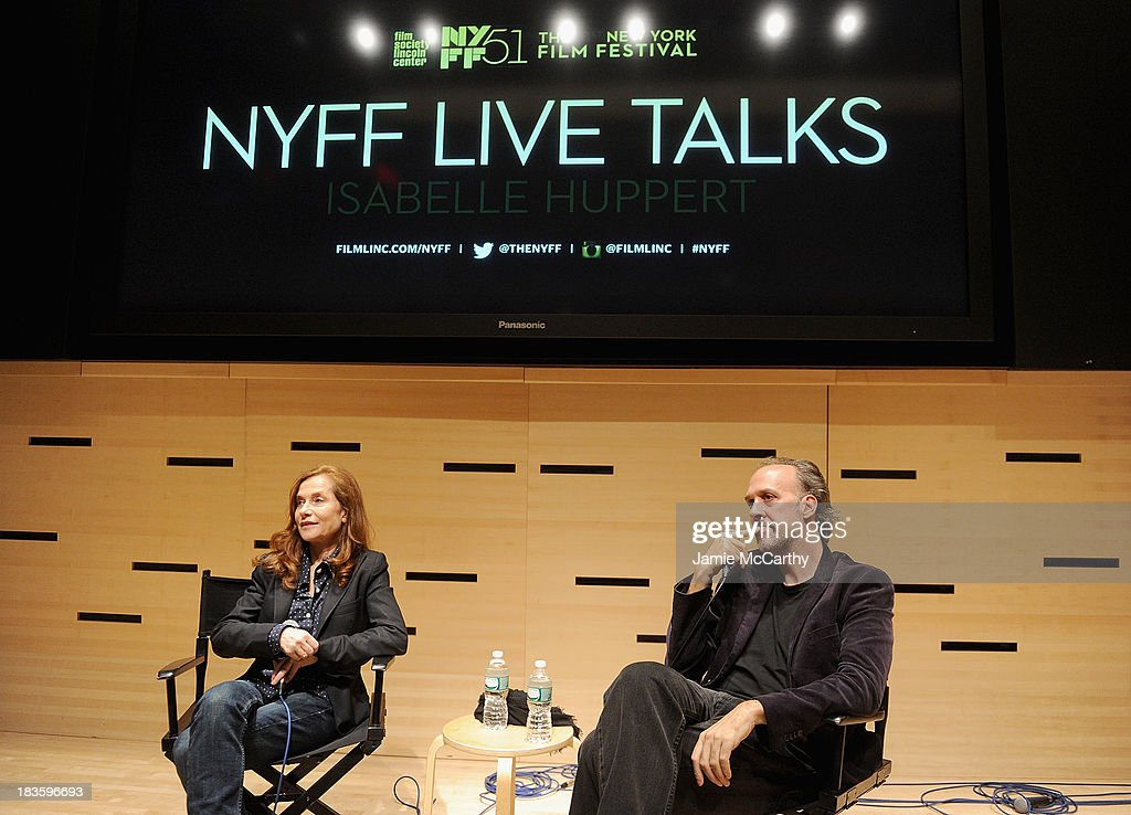 Isabelle Huppert and Kent Jones, Director of Programming for the New York Film Festival attend the Isabelle Huppert, 'Abuse Of Weakness' panel during the 51st New York Film Festival at Elinor Bunin Munroe Film Center on October 7, 2013 in New York City.