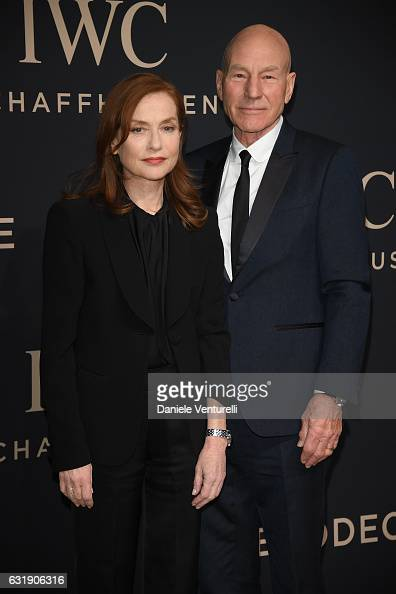 Isabelle Huppert and Patrick Stewart arrive at IWC Schaffhausen at SIHH 2017 'Decoding the Beauty of Time' Gala Dinner on January 17 2017 in Geneva...