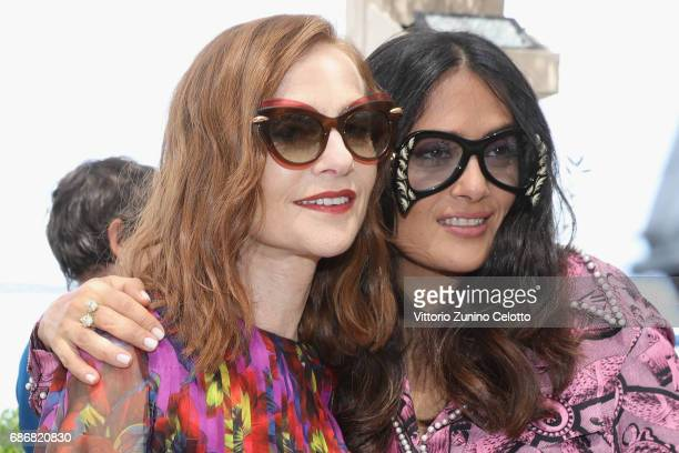 Isabelle Huppert and Salma Hayek attend Kering Women in motion Lunch with Madame Figaro on May 22 2017 in Cannes France