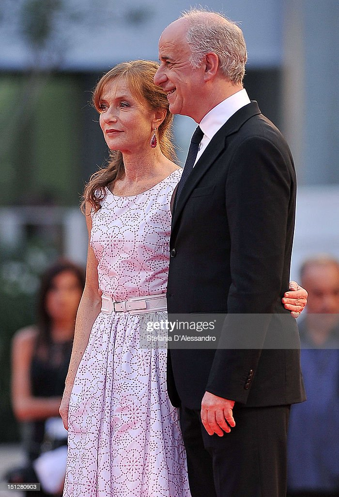 <a gi-track='captionPersonalityLinkClicked' href=/galleries/search?phrase=Isabelle+Huppert&family=editorial&specificpeople=662796 ng-click='$event.stopPropagation()'>Isabelle Huppert</a> and <a gi-track='captionPersonalityLinkClicked' href=/galleries/search?phrase=Toni+Servillo&family=editorial&specificpeople=3035146 ng-click='$event.stopPropagation()'>Toni Servillo</a> attend 'Bella Addormentata' Premiere at the 69th Venice Film Festivalon September 5, 2012 in Venice, Italy.
