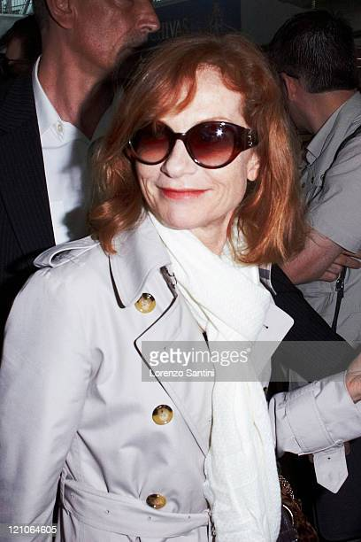 Isabelle Huppert arrives at Nice Airport to attend the Cannes Film Festival on May 12 2009 in Cannes France
