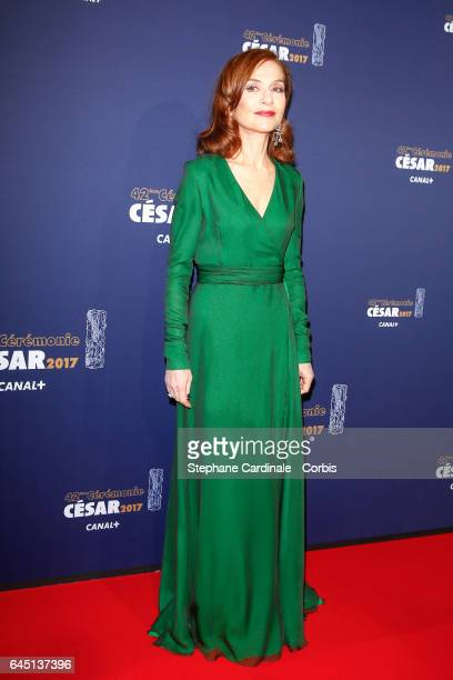 Isabelle Huppert arrives at the Cesar Film Awards 2017 ceremony at Salle Pleyel on February 24 2017 in Paris France