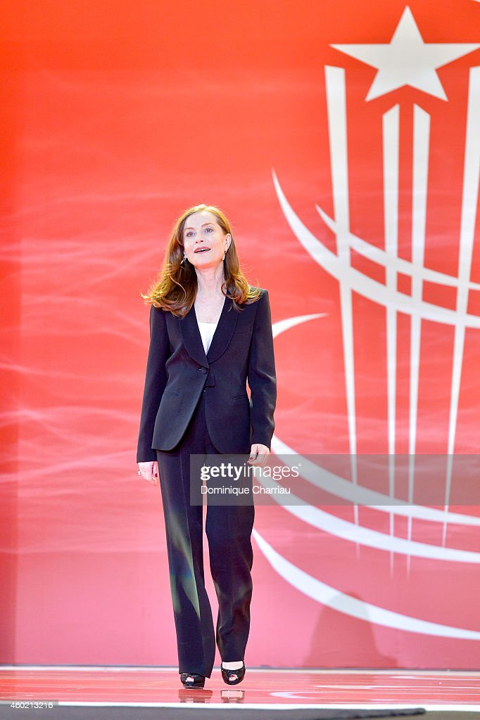 Isabelle Huppert arrives on stage for the Tribute to Japanese Cinema during the 14th Marrakech International Film Festival on December 9 2014 in...