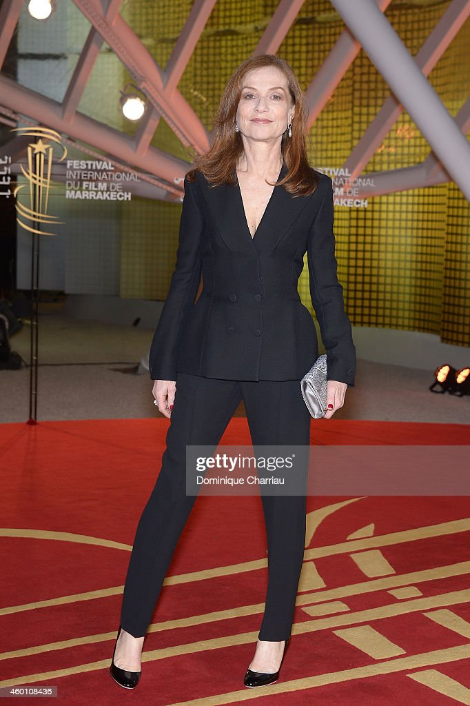 <a gi-track='captionPersonalityLinkClicked' href=/galleries/search?phrase=Isabelle+Huppert&family=editorial&specificpeople=662796 ng-click='$event.stopPropagation()'>Isabelle Huppert</a> arrives on the red carpet for the evening tribute to Viggo Mortensen during the 14th Marrakech International Film Festival on December 7, 2014 in Marrakech, Morocco.