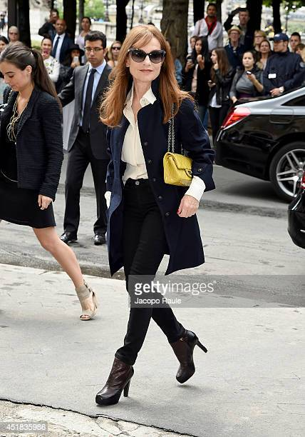 Isabelle Huppert arrives to attend the Chanel show as part of Paris Fashion Week Haute Couture Fall/Winter 20142015 on July 8 2014 in Paris France