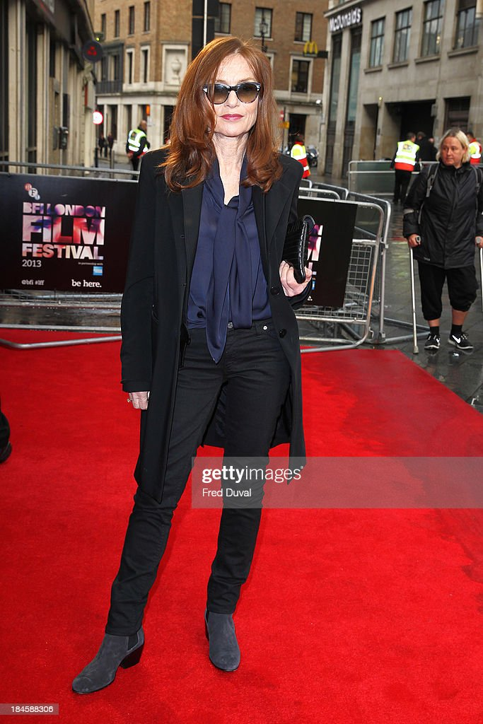 <a gi-track='captionPersonalityLinkClicked' href=/galleries/search?phrase=Isabelle+Huppert&family=editorial&specificpeople=662796 ng-click='$event.stopPropagation()'>Isabelle Huppert</a> attends a screening of 'Abuse Of Weakness' during the 57th BFI London Film Festival at Odeon West End on October 14, 2013 in London, England.