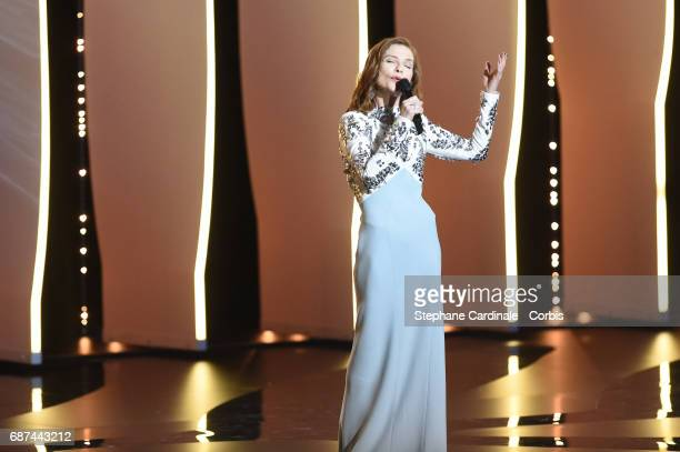 Isabelle Huppert attends the 70th Anniversary Ceremony during the 70th annual Cannes Film Festival at Palais des Festivals on May 23 2017 in Cannes...