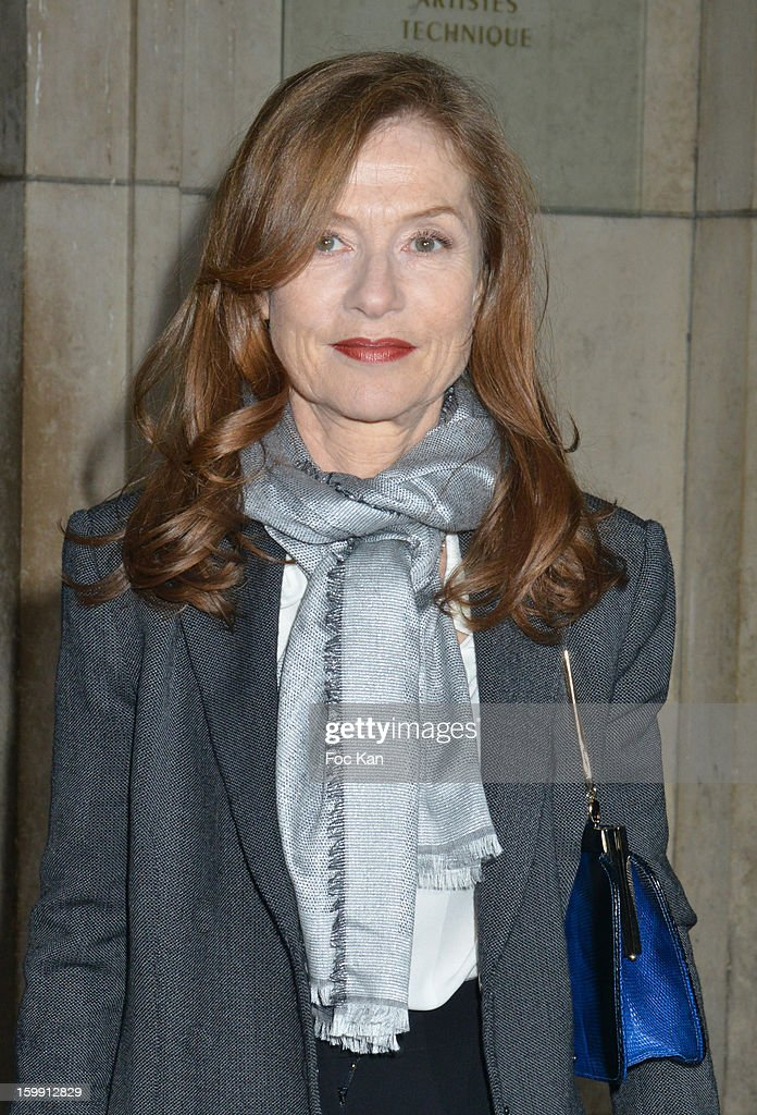 Isabelle Huppert attends the Giorgio Armani Prive Spring/Summer 2013 Haute-Couture show as part of Paris Fashion Week at Theatre National de Chaillot on January 22, 2013 in Paris, France.