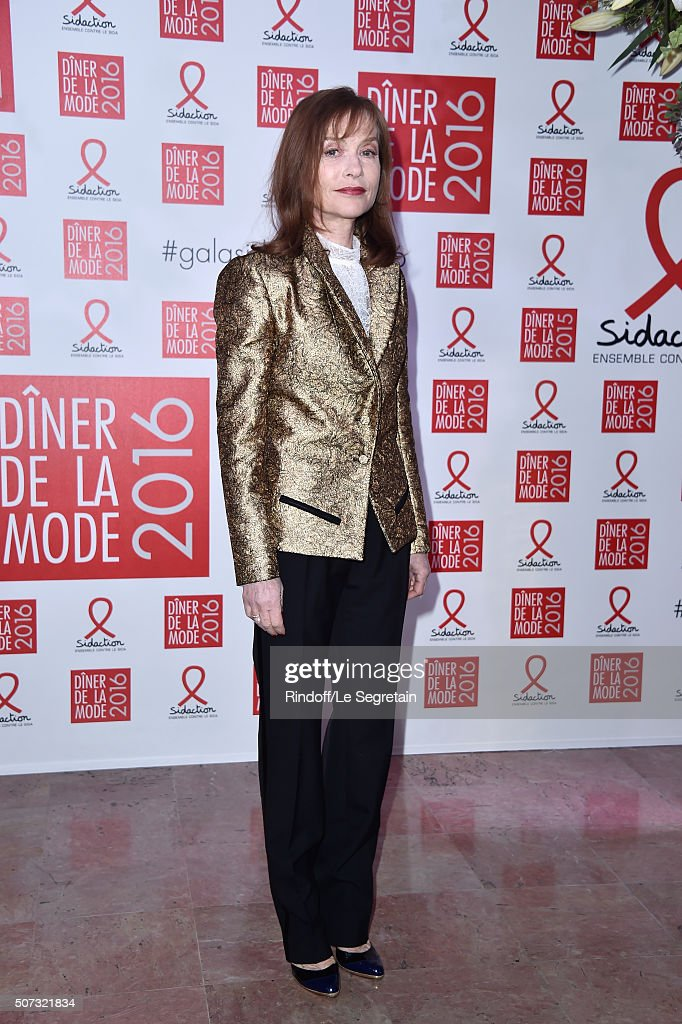 Isabelle Huppert attends the Sidaction Gala Dinner 2016 as part of Paris Fashion Week on January 28 2016 in Paris France