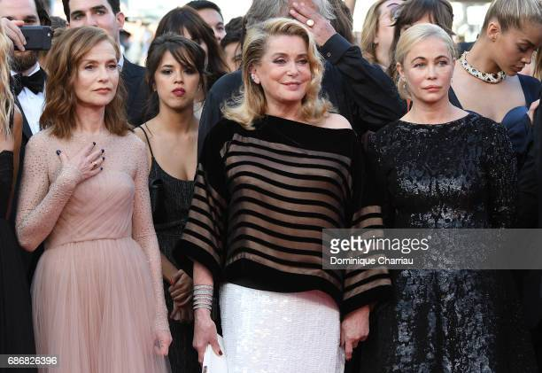 Isabelle Huppert Catherine Deneuve and Emmanuelle Beart attend the 'The Killing Of A Sacred Deer' screening during the 70th annual Cannes Film...