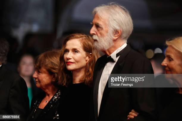 Isabelle Huppert director Michael Haneke and wife Susi Haneke attend the 'Happy End' screening during the 70th annual Cannes Film Festival at Palais...