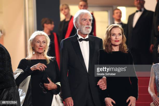 Isabelle Huppert director Michael Haneke Susi Haneke and Fantine Harduin attend the 'Happy End' screening during the 70th annual Cannes Film Festival...
