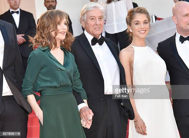 Isabelle Huppert director Paul Verhoeven and Alice Isaaz attend the 'Elle' Premiere during the 69th annual Cannes Film Festival at the Palais des...