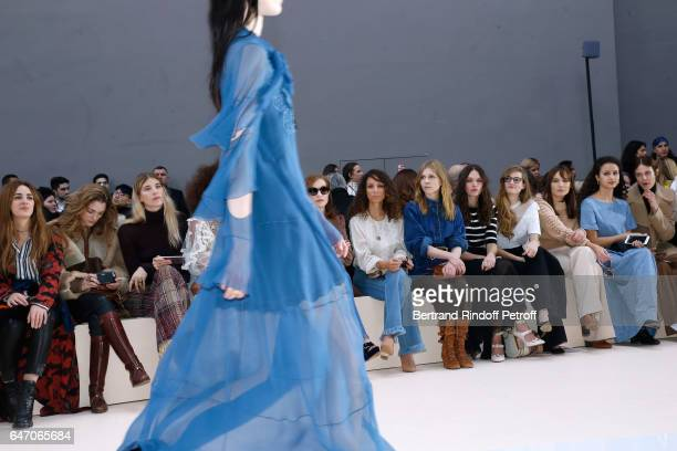 Isabelle Huppert Houda Benyamina Clemence Poesy guest Noemie Schmidt Ana Girardot Oulaya Amamra and Aymeline Valade attend the Chloe show as part of...