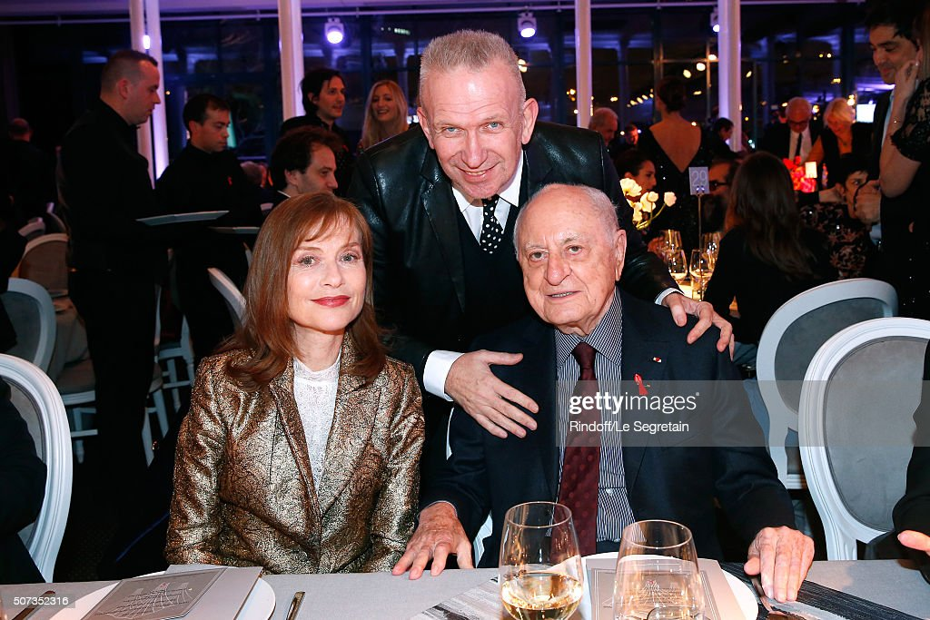 Isabelle Huppert JeanPaul Gaultier and Pierre Berge attend the Sidaction Gala Dinner 2016 as part of Paris Fashion Week Held at Pavillon...