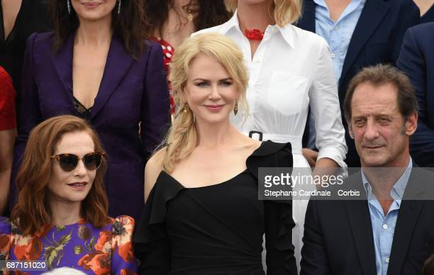 Isabelle Huppert Nicole Kidman and Vincent Lindon attend the 70th Anniversary photocall during the 70th annual Cannes Film Festival at Palais des...