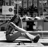 Isabelle Huppert on the Croisette in front the Hotel Carlton at Cannes Film Festival in 1976 in Cannes France