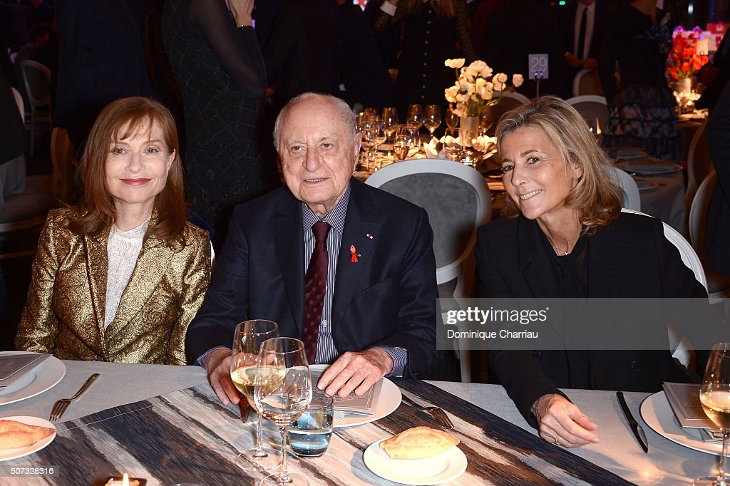 Isabelle Huppert Pierre Berge and Claire Chazal attend the Sidaction Gala Dinner 2016 as part of Paris Fashion Week on January 28 2016 in Paris France
