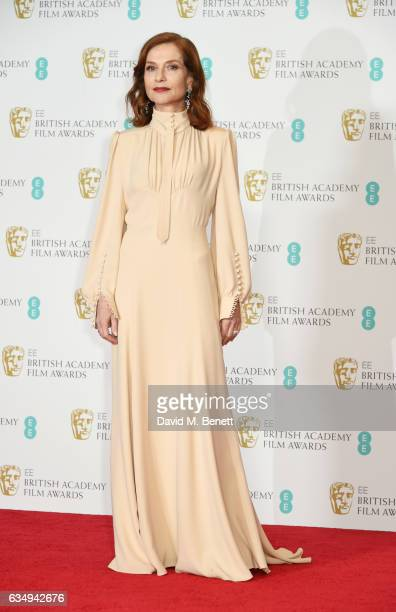 Isabelle Huppert poses in the winners room at the 70th EE British Academy Film Awards at Royal Albert Hall on February 12 2017 in London England